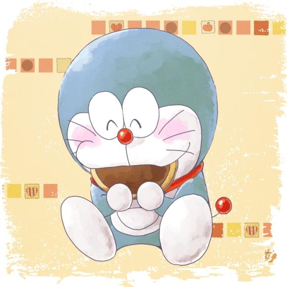 Doraemon eating his favorite food....Dorayaki!