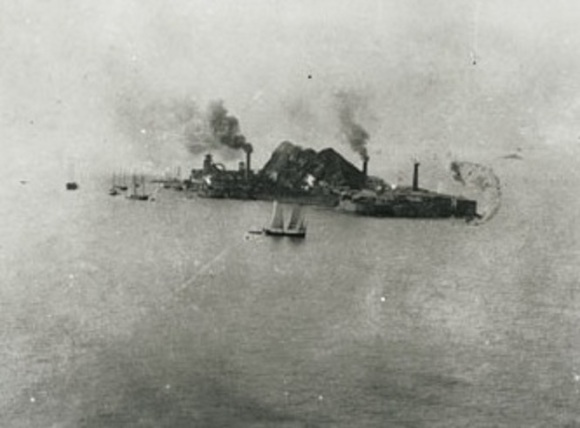 The artificial island was developed during the first half of the 20th century for the exploitation of underground coal mines.