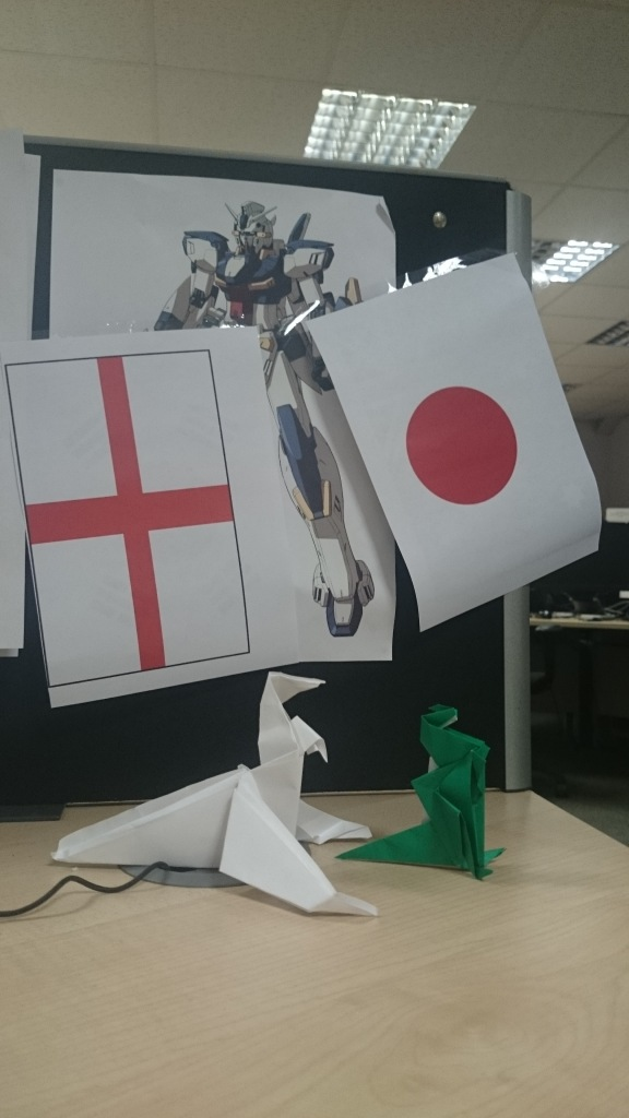 My desk decorated with both the England and Japan flags along with Gundam and Origami
